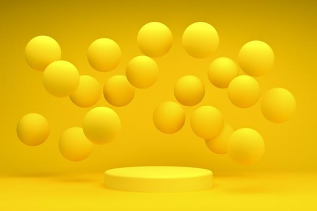 Pódio amarelo redondo de renderização em 3d com pedestal de bolas ou fundo de plataforma para produtos cosméticos