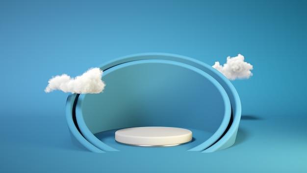 Pódio azul com nuvens na parede azul. suporte de exposição do produto. insira o seu produto. dia dos pais. renderização em 3d.