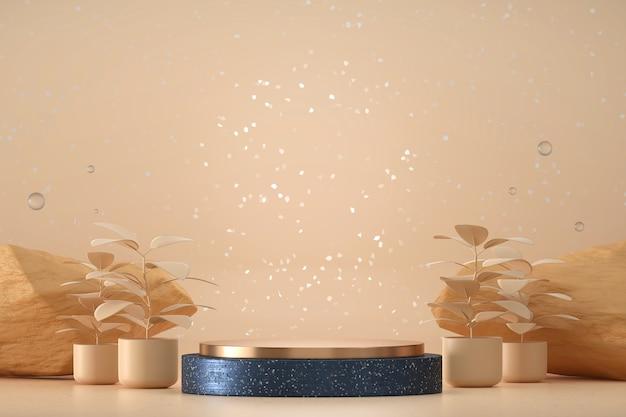 Pódio azul e dourado para vitrine de exibição de produtos com renderização 3d de plantas