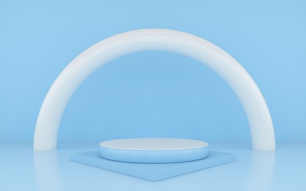 Pódio azul mínimo no fundo azul da cor para o produto.