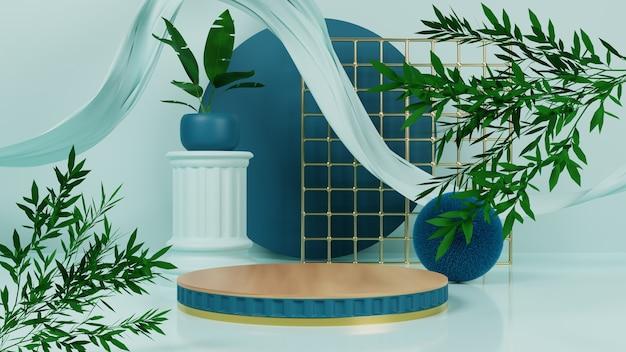 Pódio azul natural com ouro e tecido