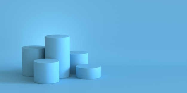 Pódio azul pastel vazio no fundo da parede vazia. renderização em 3d.