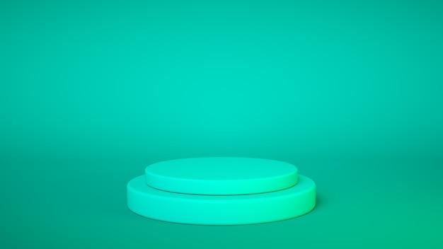 Pódio azul sobre fundo azul. expositor de produtos. insira seu produto. dia dos pais. renderização 3d.