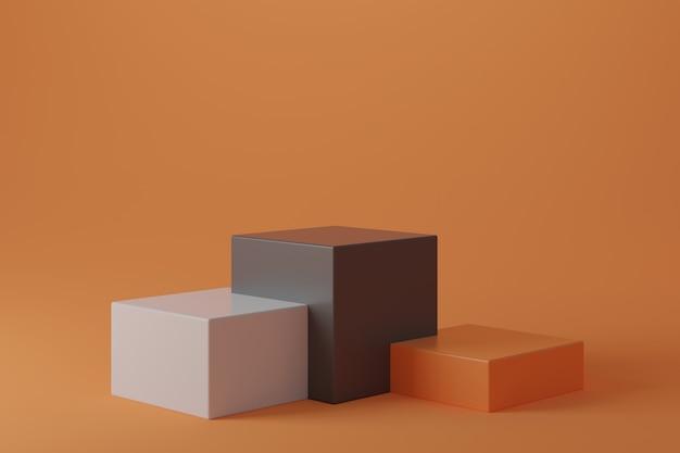 Pódio branco cinza laranja em fundo gradiente laranja.