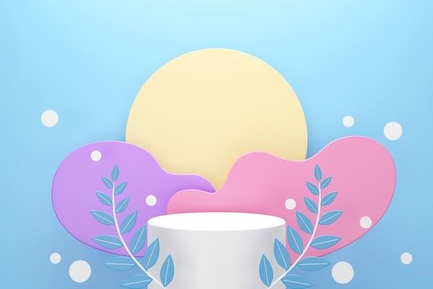 Pódio branco com folhas e nuvens ou formas de onda de cor pastel em fundo azul, espaço para o conceito de publicidade de produto, renderização 3d