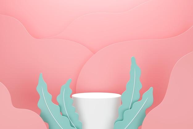 Pódio branco com folhas verdes e formas líquidas de onda rosa em cor pastel, espaço para o conceito de publicidade de produto, renderização 3d