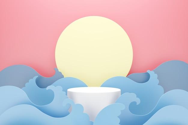 Pódio branco com onda de água azul e lua em fundo rosa, espaço para texto e conceito de publicidade de produto, renderização 3d