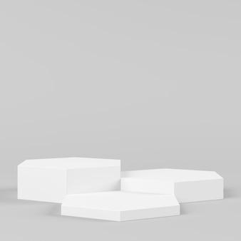 Pódio branco da cor da forma abstrata do hexágono da geometria no fundo branco para o produto. conceito mínimo. renderização em 3d