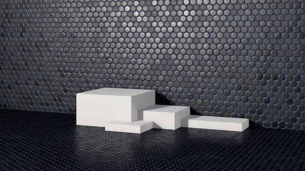 Pódio branco da imagem renderizada em 3d com fundo preto pequeno de textura de cerâmica circular para anúncio de exibição de produto