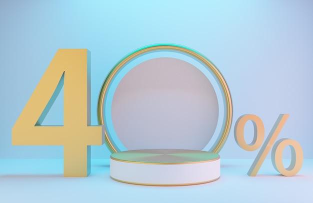 Pódio branco e dourado e texto 40% para apresentação do produto e arco dourado na parede branca com iluminação de fundo de estilo luxuoso., modelo 3d e ilustração.