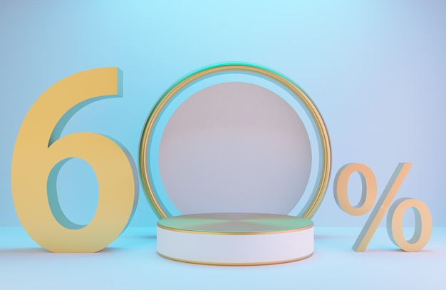 Pódio branco e dourado e texto 60% para apresentação do produto e arco dourado na parede branca com iluminação de fundo de estilo luxuoso., modelo 3d e ilustração.