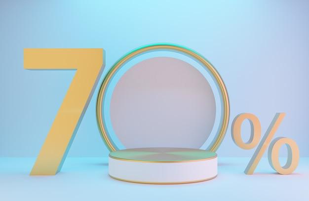 Pódio branco e dourado e texto 70% para apresentação do produto e arco dourado na parede branca com iluminação de fundo de estilo luxuoso., modelo 3d e ilustração.