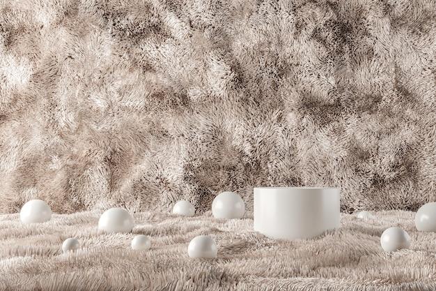 Pódio branco e muitas bolas em lã bege. fundo abstrato para apresentação de produtos ou anúncios. renderização 3d