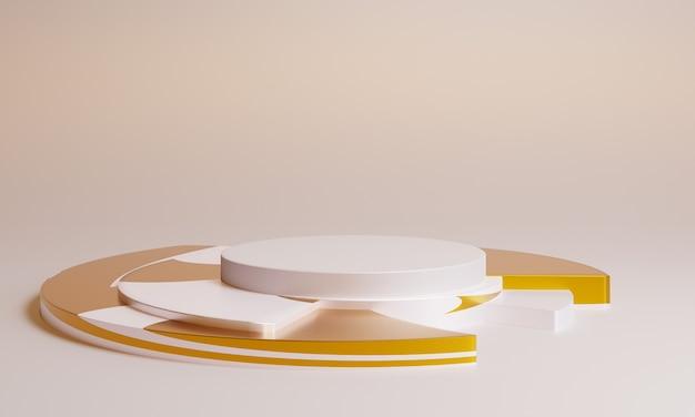 Pódio branco mínimo 3d com decoração dourada