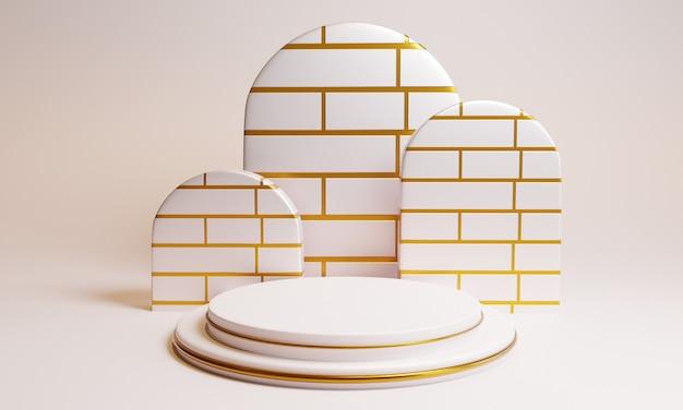 Pódio branco mínimo 3d com textura dourada