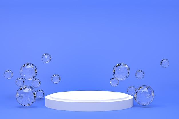 Pódio branco mínimo abstrato azul para apresentação de produtos cosméticos