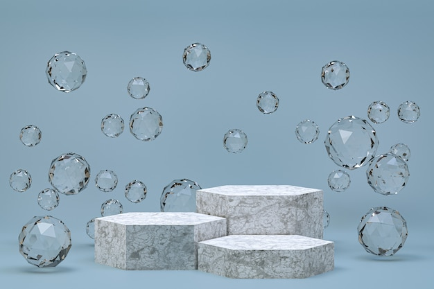 Pódio branco mínimo abstrato cinza para apresentação de produtos cosméticos
