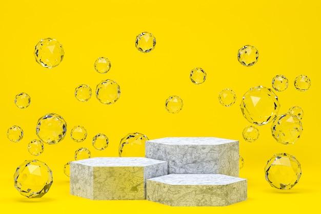 Pódio branco mínimo abstrato em amarelo