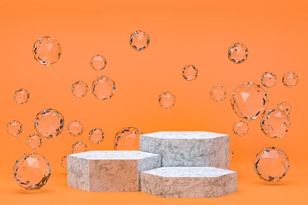 Pódio branco mínimo abstrato laranja para apresentação de produtos cosméticos
