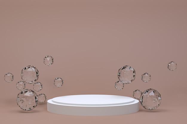 Pódio branco mínimo abstrato marrom para apresentação de produtos cosméticos