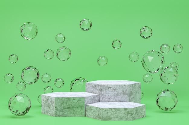 Pódio branco mínimo verde abstrato para apresentação de produtos cosméticos