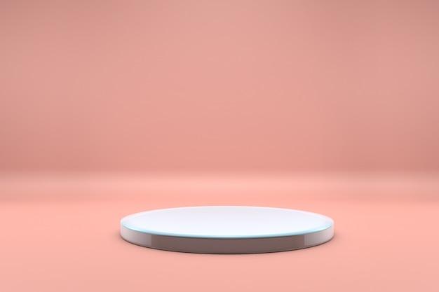 Pódio branco ou prateleira em fundo rosa