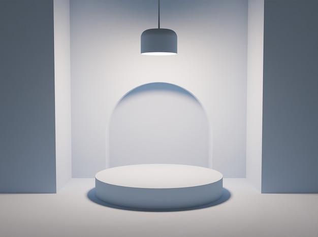 Pódio branco para apresentação do produto com lâmpada iluminando um cilindro vazio. renderização 3d