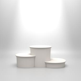 Pódio branco redondo vazio.