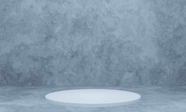 Pódio branco renderizado em 3d com fundo de parede de cimento