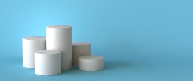 Pódio branco vazio no fundo azul pastel. renderização 3d.