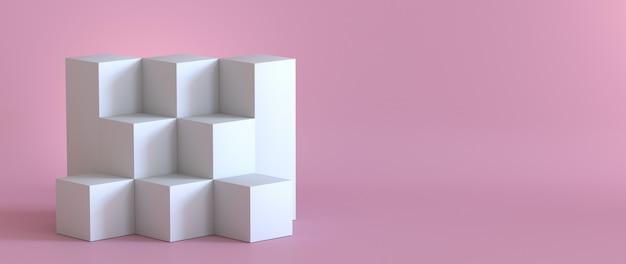 Pódio branco vazio no fundo do rosa pastel. renderização 3d.