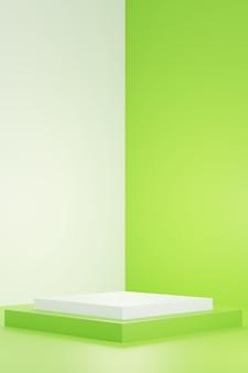 Pódio branco verde. exibição do produto. renderização 3d