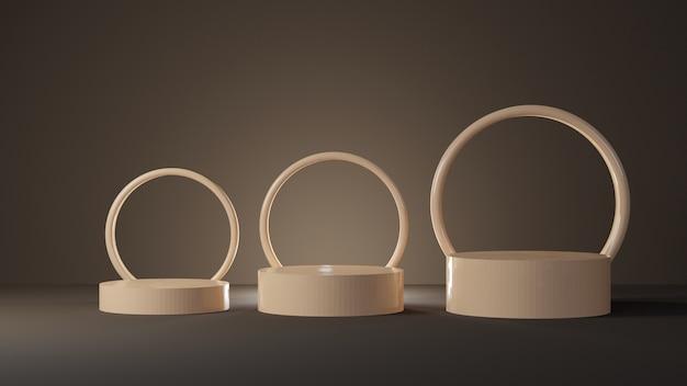 Pódio cilíndrico em tons pastéis suaves com formas circulares na sala escura