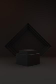 Pódio cinza escuro empilhado em fundo cinza escuro com iluminação laranja e branca.