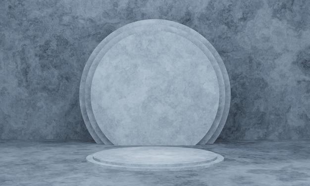 Pódio cinza renderizado em 3d e fundo de parede de cimento