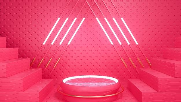 Pódio circular de luz geométrica abstrata para produto de estande