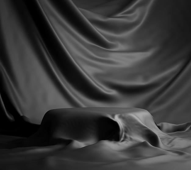Pódio coberto com pano preto - espaço vazio renderização em 3d