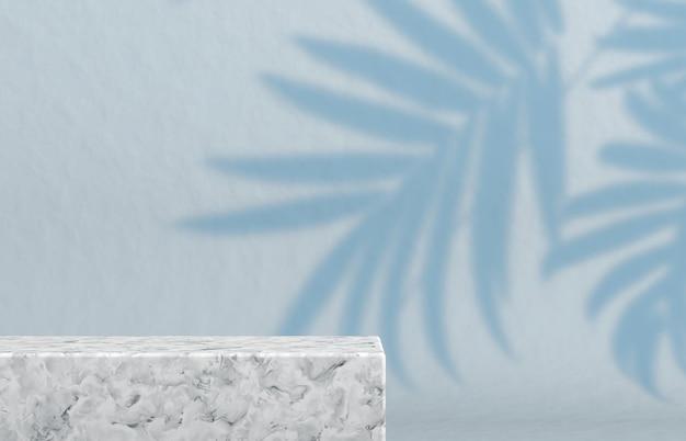 Pódio com caixa de cubo vazio para exposição de produtos cosméticos.