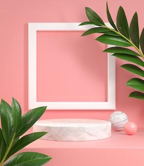 Pódio com frame e planta tropic rosa pastel. renderização 3d