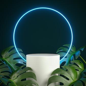 Pódio com luz azul led neon com cena da planta monstera. renderização 3d