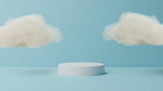 Pódio com nuvem sobre fundo azul pastel. renderização em 3d