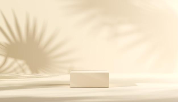Pódio com sombra de folha no fundo para apresentação do produto