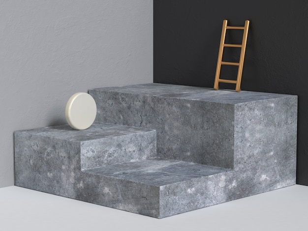 Pódio concreto renderização em 3d abstrato geométrico preto cinza parede de canto