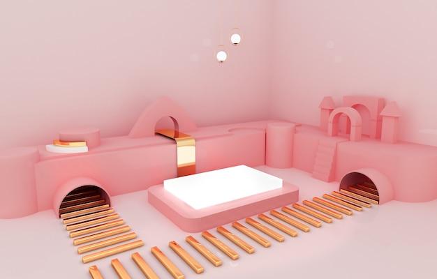 Pódio da caixa com fundo rosa para exposição do produto