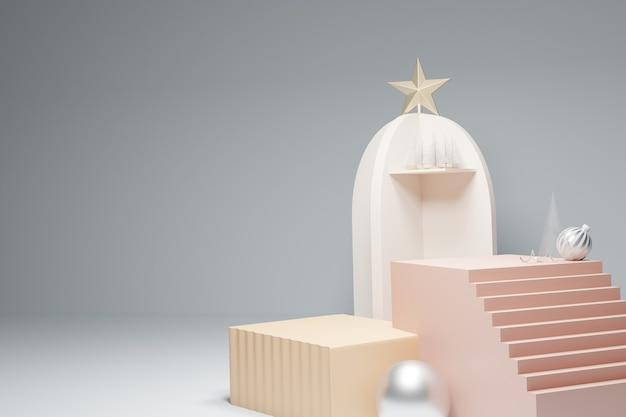 Pódio da escada e caixa decorada com enfeites de natal
