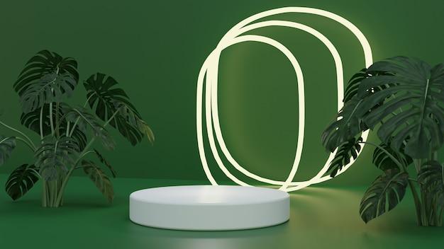 Pódio de alta qualidade renderizado em 3d de natureza verde com luz brilhante vista lateral