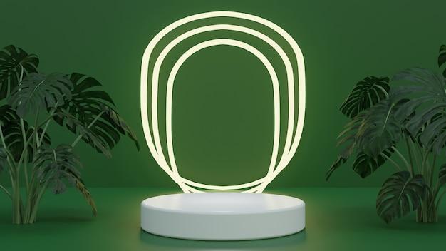 Pódio de alta qualidade renderizado em 3d de natureza verde com luz brilhante