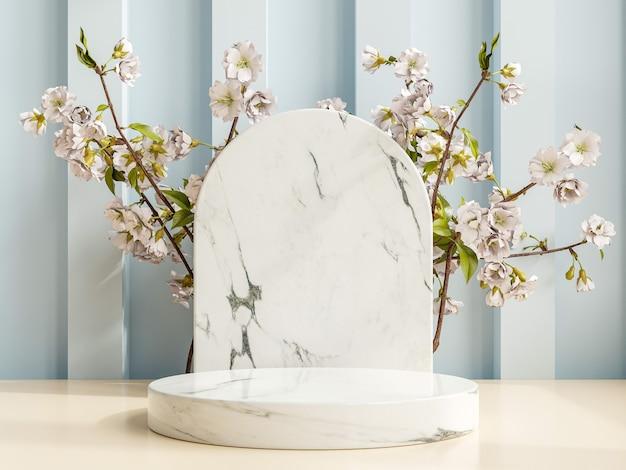 Pódio de apresentação do produto com fundo de mármore. renderização 3d