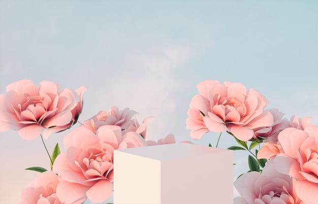 Pódio de beleza natural para exposição de produtos com flor rosa rosa. renderização 3d.