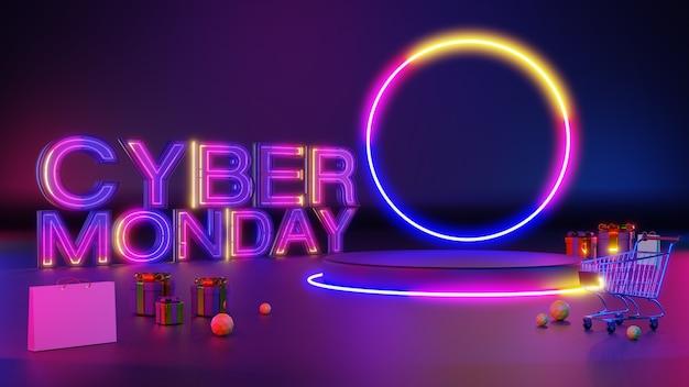 Pódio de brilho 3d cyber segunda-feira luz de néon.